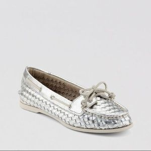 Sperry Top Slider Metallic Silver Boat Shoes - 9.5